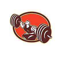 Weightlifter Lifting Barbells Cross-fit RetroWeightlifter Lifting Barbells Cross-fit Retro by patrimonio