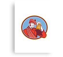 Scotsman Beer Drinker Mug Retro Canvas Print