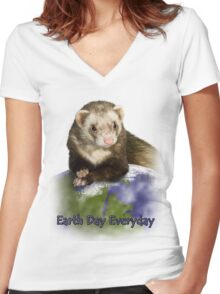 Earth Day Everyday Ferret Women's Fitted V-Neck T-Shirt