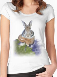 Earth Day Bunny Rabbit Women's Fitted Scoop T-Shirt