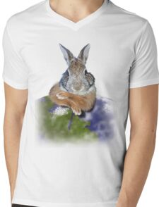 Earth Day Bunny Rabbit Mens V-Neck T-Shirt