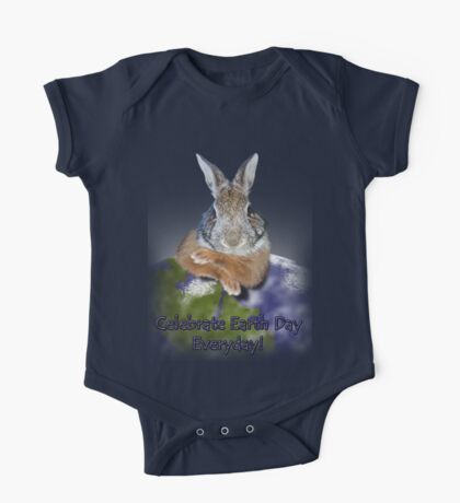 Celebrate Earth Day Everyday Rabbit One Piece - Short Sleeve