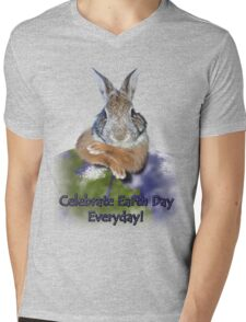 Celebrate Earth Day Everyday Rabbit Mens V-Neck T-Shirt