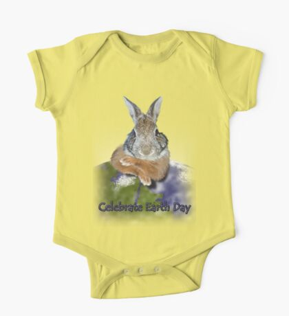 Celebrate Earth Day Bunny One Piece - Short Sleeve