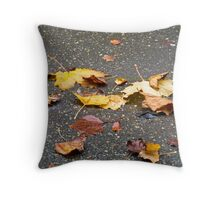 Leaves in Rain Throw Pillow