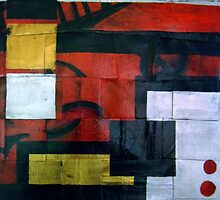 Scraps from the Past Abstract Weave Painting by VibrantDesigns