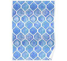 Cornflower Blue Moroccan Watercolor Pattern Poster