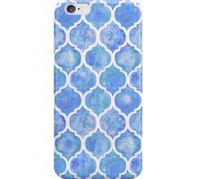 Cornflower Blue Moroccan Watercolor Pattern iPhone Case/Skin
