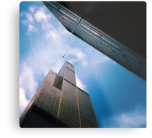 The helicopter the ledge and the sky Metal Print