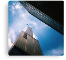The helicopter the ledge and the sky Canvas Print