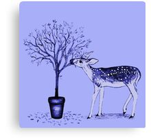 Fawn and Tree (Blue) Canvas Print