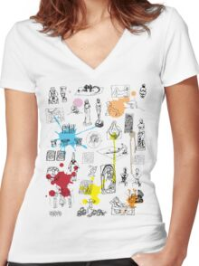 History of Art (w/ paint splashes) Women's Fitted V-Neck T-Shirt