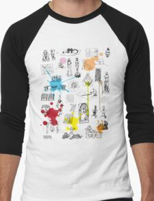 History of Art (w/ paint splashes) Men's Baseball ¾ T-Shirt