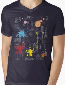 History of Art (dark tee, w/ paint splashes) Mens V-Neck T-Shirt