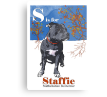 S is for Staffie Metal Print
