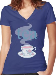 While there's tea Women's Fitted V-Neck T-Shirt