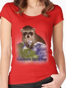 Celebrate Earth Day Raccoon Women's Fitted Scoop T-Shirt