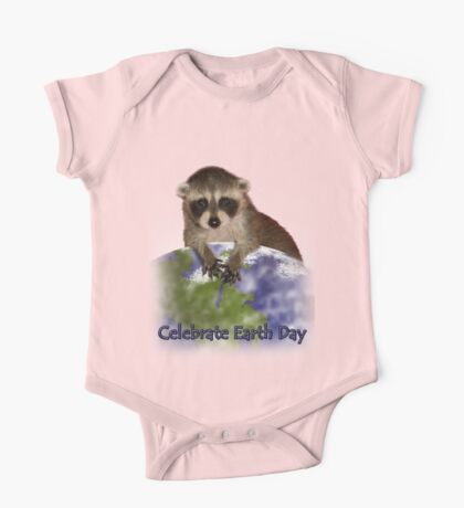 Celebrate Earth Day Raccoon One Piece - Short Sleeve