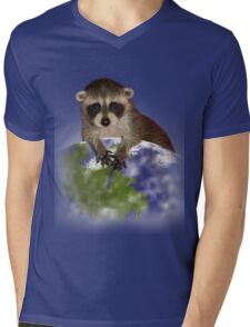 Earth Day Raccoon Mens V-Neck T-Shirt