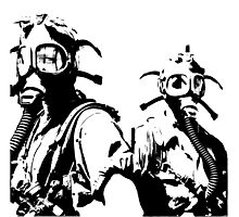 Girls in Gas Masks in black Photographic Print