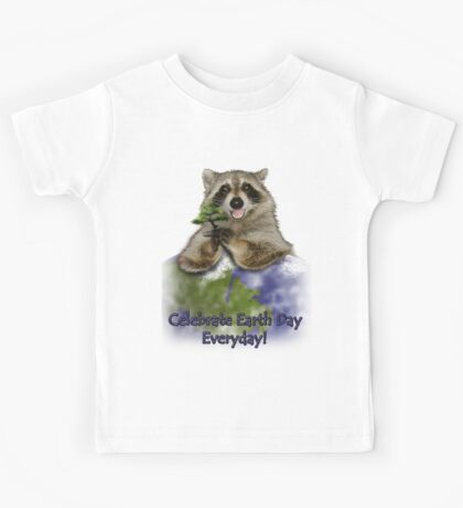 Celebrate Earth Day Everyday Raccoon Kids Tee