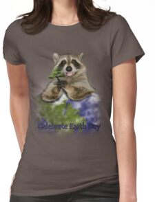 Celebrate Earth Day Raccoon Womens Fitted T-Shirt