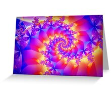 Multi-Coloured Spiral Fractal Greeting Card