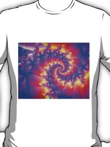 Multi-Coloured Spiral Fractal T-Shirt