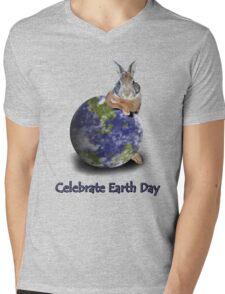 Celebrate Earth Day Bunny Mens V-Neck T-Shirt