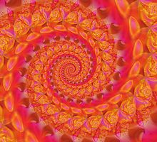 Pink Spiral Fractal by Kitty Bitty