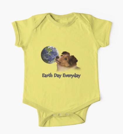 Earth Day Everyday Sheltie Puppy One Piece - Short Sleeve