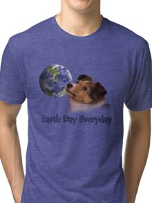 Earth Day Everyday Sheltie Puppy Tri-blend T-Shirt