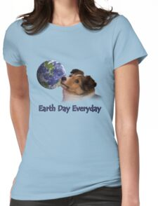 Earth Day Everyday Sheltie Puppy Womens Fitted T-Shirt
