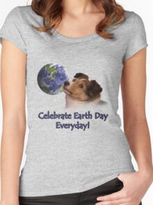 Celebrate Earth Day Everyday Sheltie Women's Fitted Scoop T-Shirt