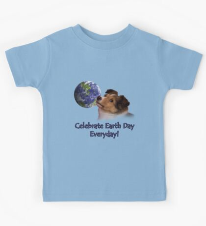 Celebrate Earth Day Everyday Sheltie Kids Tee