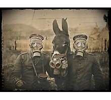 Soldiers and Mule Wear Gas Masks Photographic Print