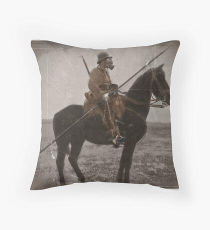 German Lancer on Horseback WWI Throw Pillow