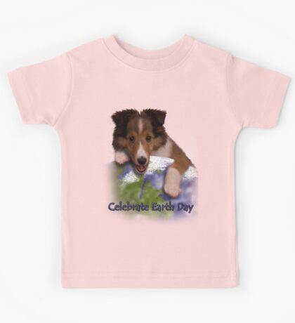 Celebrate Earth Day Sheltie Puppy Kids Tee