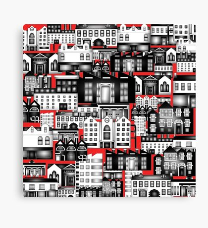SPLASHYARTYSTORY - ALL ABOUT BUILDINGS red Canvas Print