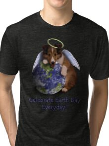 Celebrate Earth Day Everyday Angel Sheltie Tri-blend T-Shirt