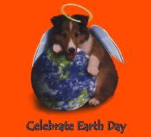 Celebrate Earth Day Angel Sheltie Puppy Kids Tee