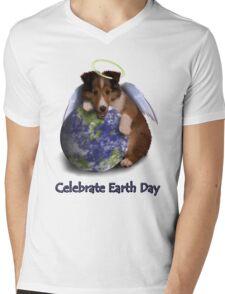 Celebrate Earth Day Angel Sheltie Puppy Mens V-Neck T-Shirt