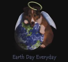 Earth Day Everyday Angel Sheltie Puppy Kids Tee