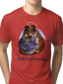 Earth Day Everyday Angel Sheltie Puppy Tri-blend T-Shirt