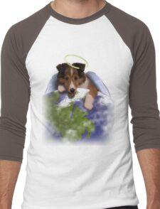 Earth Day Angel Sheltie Men's Baseball ¾ T-Shirt