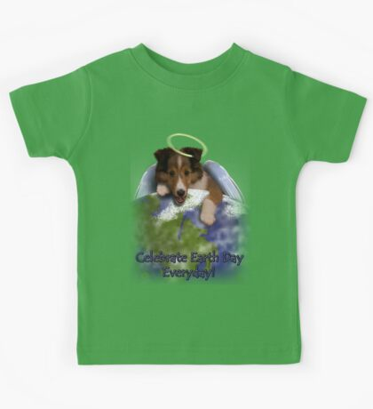 Celebrate Earth Day Everyday Angel Sheltie Kids Tee