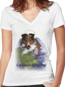 Celebrate Earth Day Angel Sheltie Women's Fitted V-Neck T-Shirt