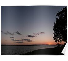 River Sunset with a Tree Poster
