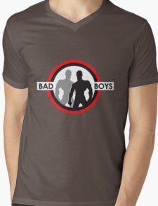 Bad Boys Silohuette Red Mens V-Neck T-Shirt