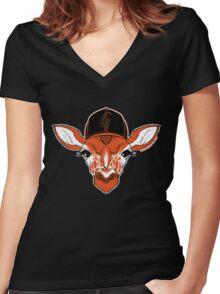 Belt Giraffe (2013 Edition) Women's Fitted V-Neck T-Shirt